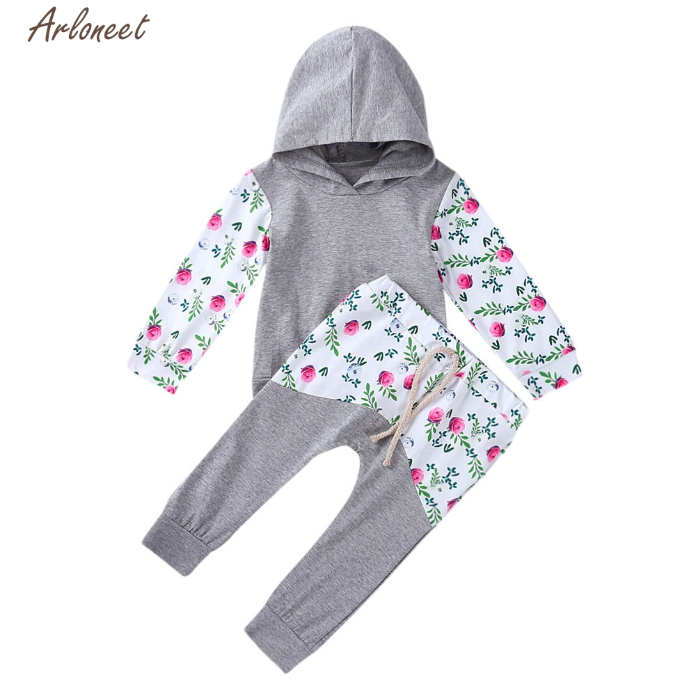 TELOTUNY Baby Boy Clothes 2pcs Toddler Baby Boys Girls Floral Print Hoodie Tops+Pants Outfits Clothes Set Y122730