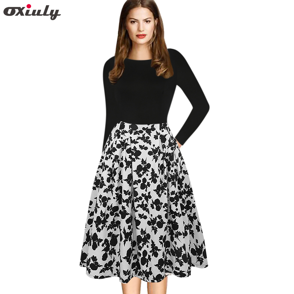 Oxiuly Black White Floral Print Women Gowns Autumn Winter Hepburn Vintage Patchwork Female A Line Party