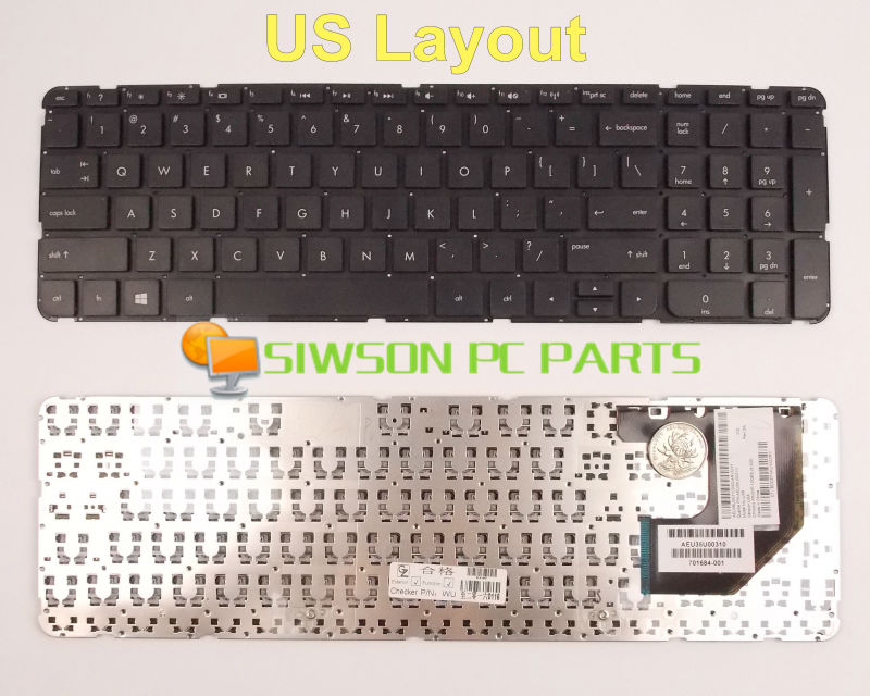 New Keyboard US Version For HP Pavilion TouchSmart Sleekbook 15-B 15-b000 15-b100 15-b107cl 15-b108au Without Frame laptop keyboard without frame for hp pavilion 15 h000 black ui international english v140546as1 ui