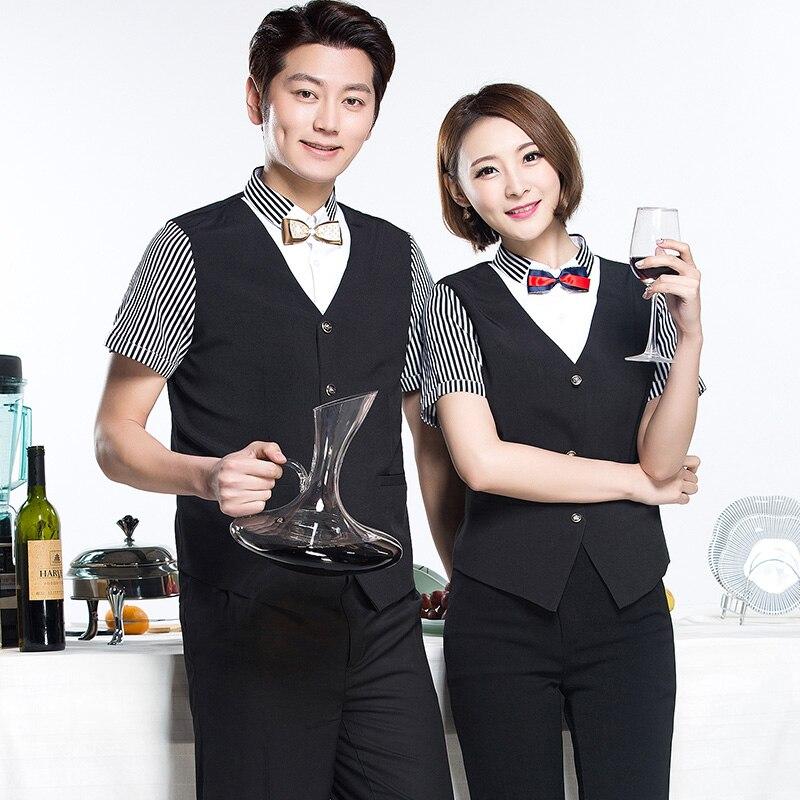 Restaurant Bar Work Uniform 2017 Summer Short Sleeve KTV Waiter Work Tie Shirt Super Market Staffs Uniforms Cashier Work Clothes