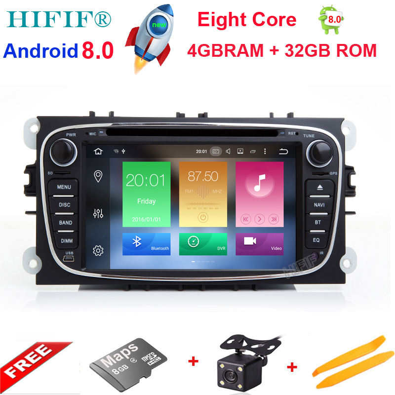 Android 8.0 Octa Cores 4GB RAM Car DVD Player For FORD/Focus/S-MAX/Mondeo/C-MAX/Galaxy 2 Din 7 Inch 3G/4G Wifi 32G ROM GPS Radio