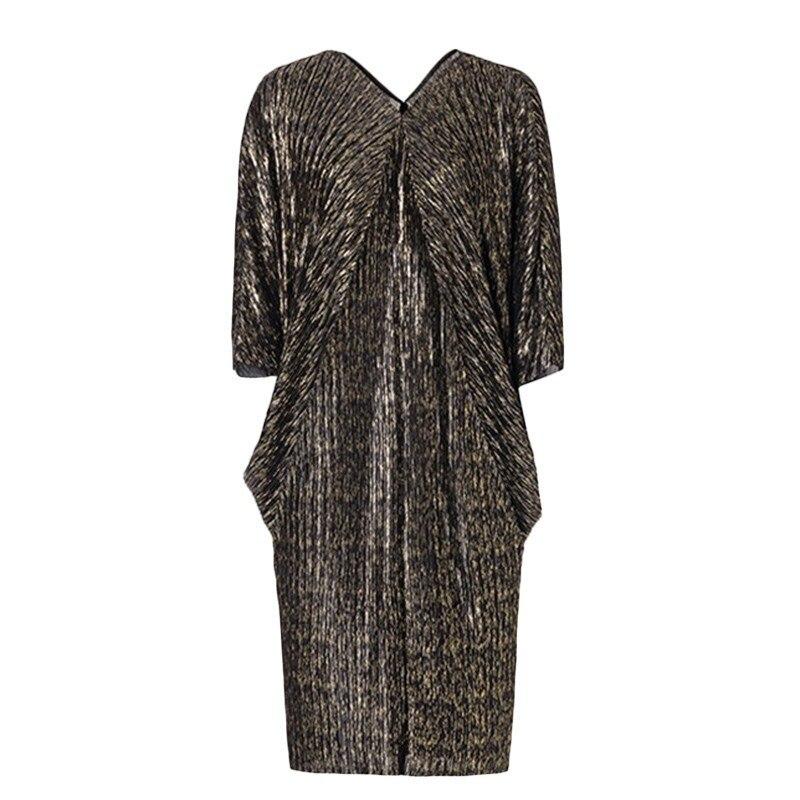 Nouvelle mode col en V grande taille robe femmes imprimer vêtements Vestido printemps robes femmes lâche manches chauve-souris plissée hanche robes F629 - 6