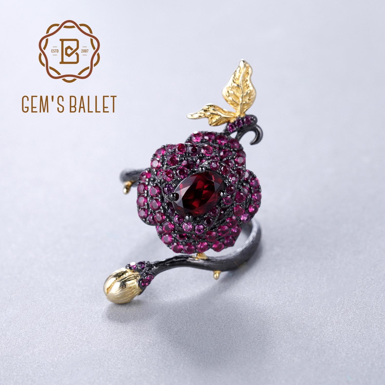 GEM S BALLET 925 Sterling Silver 1 00Ct Natural Rhodolite Garnet Rose Flower Open Ring Handmade