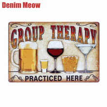Beer Retro Metal Tin Sign Plaque Vintage GROUP THERAPY Painting Bar Pub Cafe Man Cave Wall Decor Tin Plaque Art Poster A438(China)