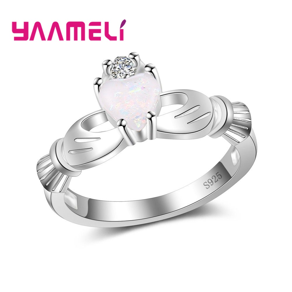 YAAMELI Beautiful Sterling 925 Silver Avvessories Sparking Finger Ring For Ladies Wedding/Engagement Jewelry For Lover/Wife