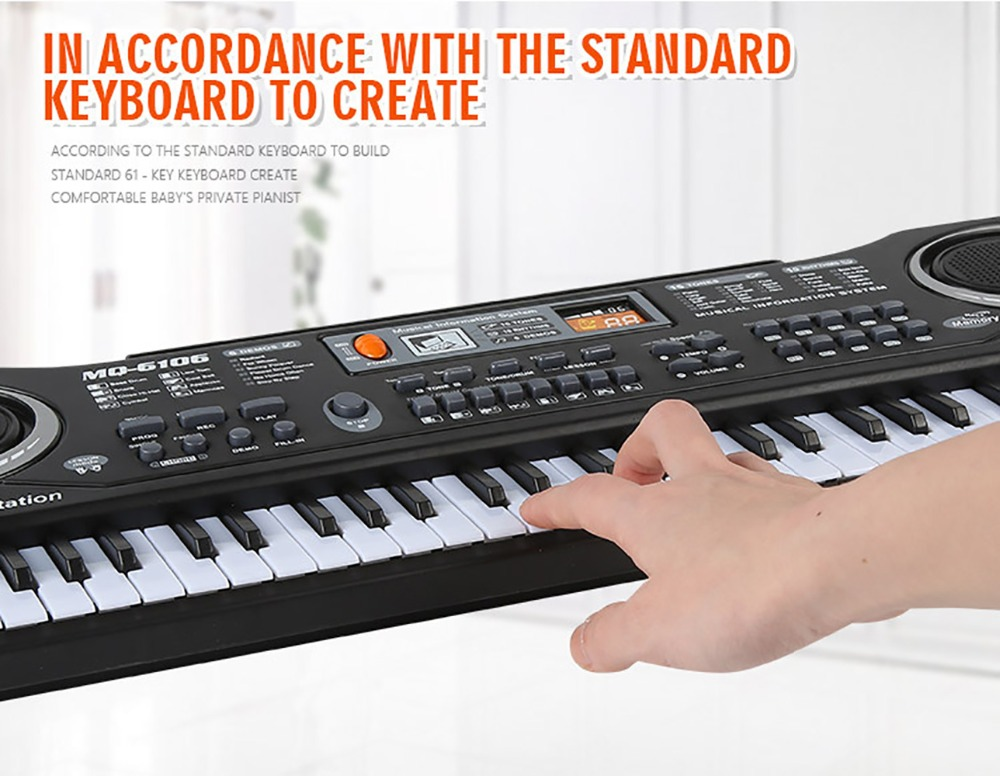 все цены на JEYKAY 61 Keys Digital Music Electronic Keyboard Key Board Electric Piano Children Gift, US Plug with Microphone онлайн