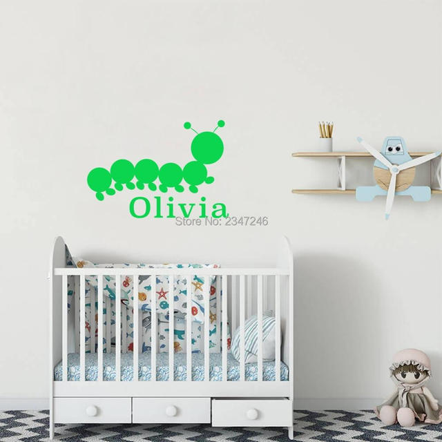personalized name caterpillar vinyl art wall decal lovely insect