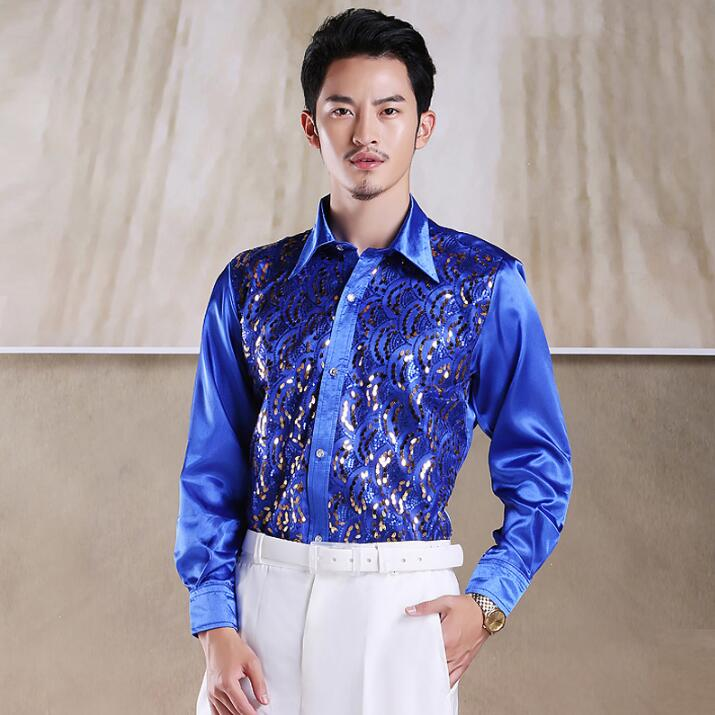 Hot 2018 Men Stage Performance Dance Host Sequins Shirts Long Sleeve Silk Shirts Costumes Male Singer Show 8 colors Shirts XXL