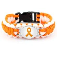 Leukemia ADHD Skin Cancer Bracelets Breast Awareness Orange Ribbon Paracord Charm Men Women Jewelry Gift