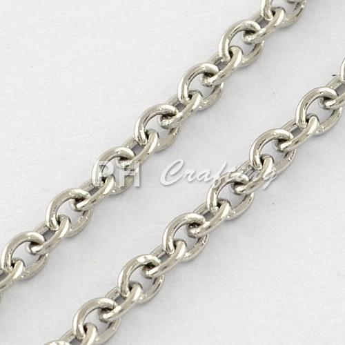 316 Stainless Steel Cross Chains, Soldered Rolo Chains, Stainless Steel Color, 2x1.5x0.4mm; 50m/roll