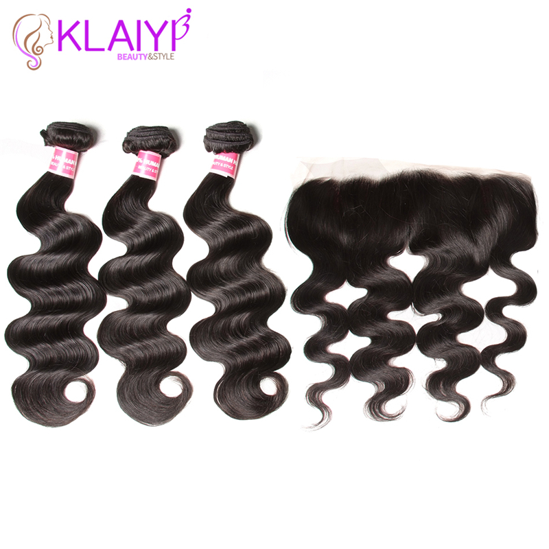 Klaiyi Hair Ear To Ear Lace Frontal Closure With 3 Bundles Brazilian Body Wave Human hair Weaves With Closures Remy Hair