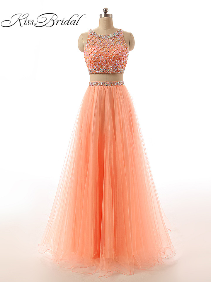 Long   Prom     Dresses   A-line Two Pieces Beaded O-Neck Sleeveless Floor Length Formal Evening Party Gowns With Crystal