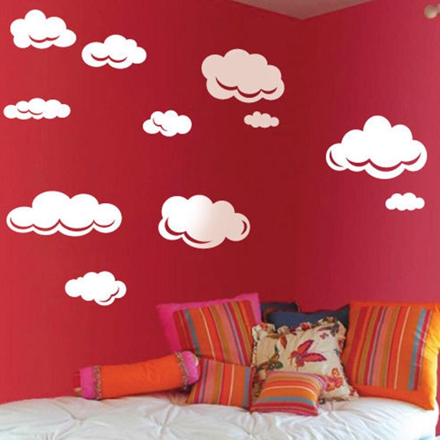 Rain Drops Clouds Vinyl Wall <font><b>Sticker</b></font> For Kids Room Wall Art Decor <font><b>Children</b></font> Nursery Wall Decal <font><b>Stickers</b></font> Large Set