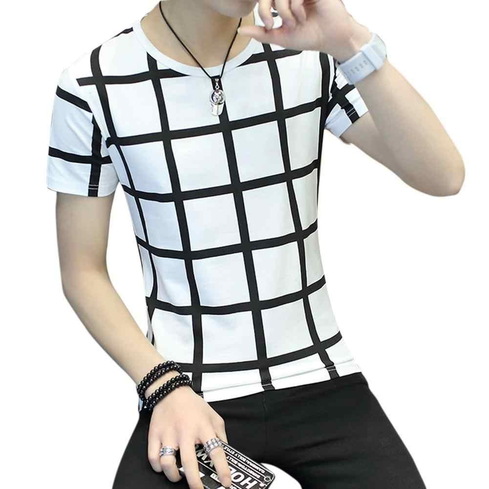 MISSKY Mannen Zomer t-shirt Wit Zwart Kleur Mode Jeugd Ronde Hals Korte mouwen T-shirt Plaid Patroon Tops Mannelijke kleding