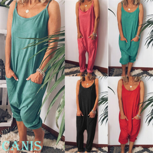 New Fashion Women's Sling Sleeveless O-neck Cotton Linen Loose Wide Leg Backless Jumpsuits Lady Summer Casual Jumpsuits S-XL