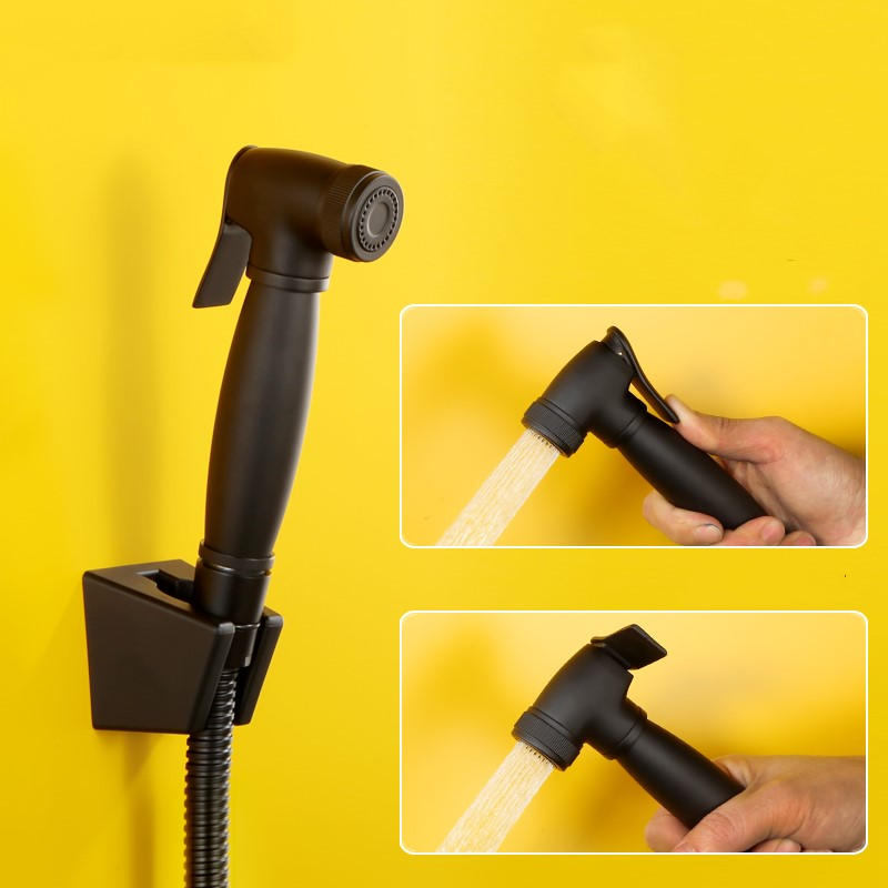 Black Toilet Brass Hand Held Bidet Spray Shower Head Douche Kit Copper Bathroom Bidet Sprayer Jet Tap Holder Hose