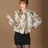 Vrouwen natuurlijke konijnenbont jas vrouwelijke korte mode jas femme echt konijn haar bont uitloper gratis verzending lente herfst jas