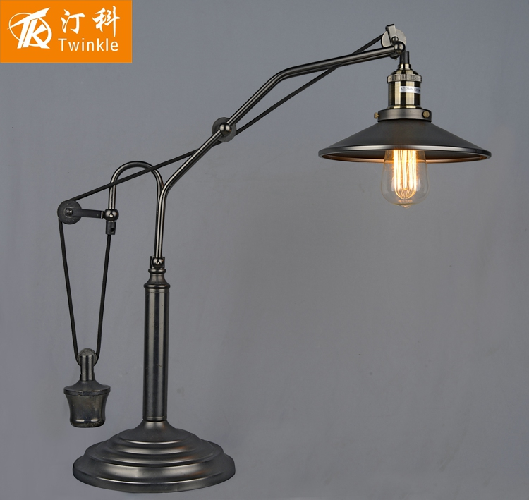 Industrial Coffee Table Lamp: Free Shipping! American Vintage Pulley Adjustable Table