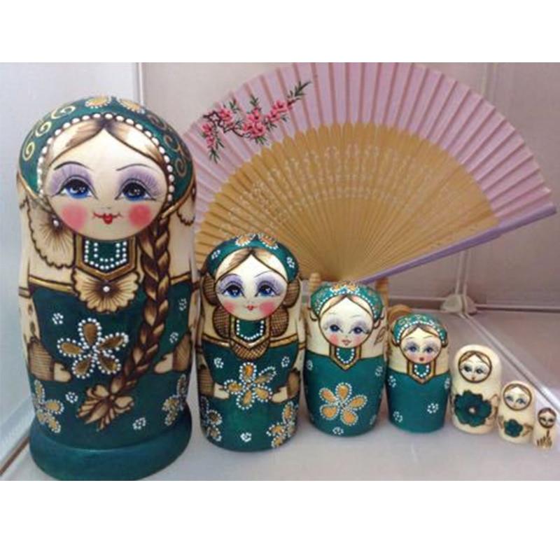 7Pcs/Lot Beautiful Doll Wooden Toys Matryoshka Doll Kids Gift Russian Nesting Dolls Baby Toy Girl Doll Christmas ornament