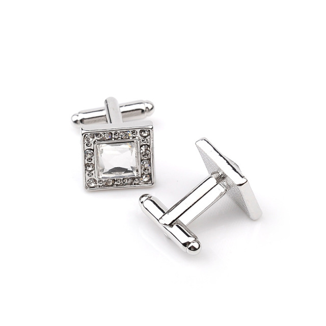 3 Color Elegant Cufflinks High Luxury Rhinestone Crystal Square Cufflink Male French Shirt Cuff Button