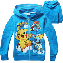 2018 Children new long sleeved Hoodie cartoon pokemon go Sports sweater for kids cotton zipper Sweatshirt for boys and girl(China)