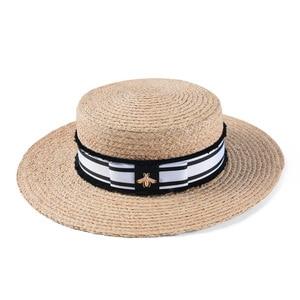 Image 4 - Mode Biene Sommer Sonne Hut Für Frauen Natürliche Bast Häkeln Stroh Hut Mit Band Flache Panama Hut Sommer Reise Strand hüte