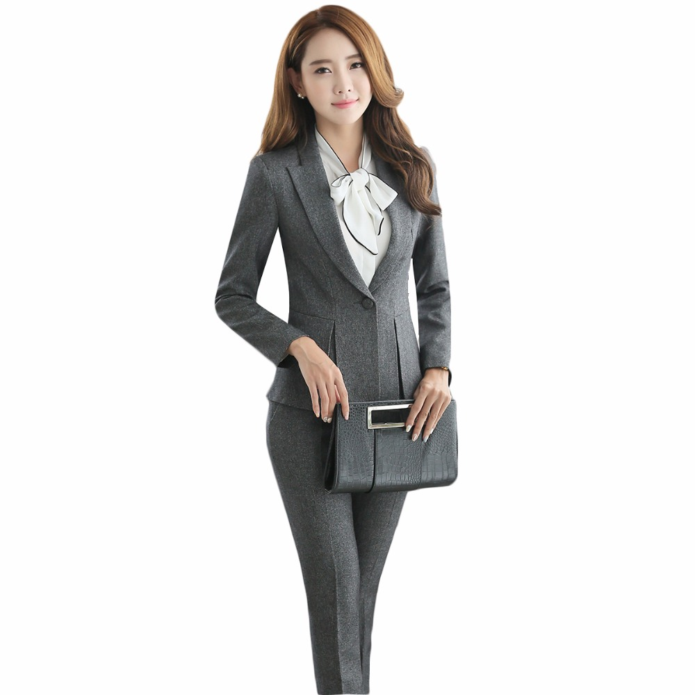 Fall Blazer With Trousers Female 2018 Officer Uniforms Designs Women Business Elegant Grey Pant Suits Largest Size 4XL For Work