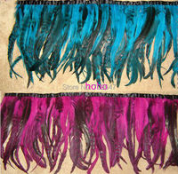 New!2Meters/lot!35cm Height,COQUE TAIL FEATHER TRIM,Chinchilla Sky Blue/Rose Colour,Feather Frigne