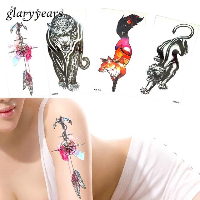 20 Designs 1 Piece Temporary Flower Arm Tattoo Sticker Fox Dreamcatcher Leopard Design Fake For Women Men Makeup Tattoo Body XQB