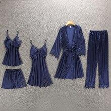 Daeyard Women Pajamas 5 Pieces Satin Pajamas Sets Sleepwear Silk Home Wear Embroidery Sleep