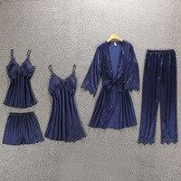 Daeyard Women Pajamas 5 Pieces Satin Pajamas Sets Sleepwear Silk Home Wear Embroidery Sleep Lounge Lace Pyjama with Chest Pads