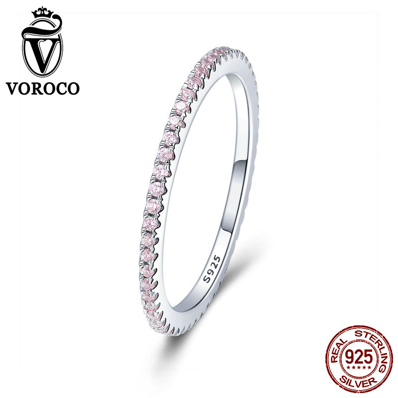 VOROCO 2018 Hot Sell Simple Design Round Ring Glitter Real 925 Sterling Silver Clear CZ Crystal Rings Woman Fine Jewelry BKR066VOROCO 2018 Hot Sell Simple Design Round Ring Glitter Real 925 Sterling Silver Clear CZ Crystal Rings Woman Fine Jewelry BKR066