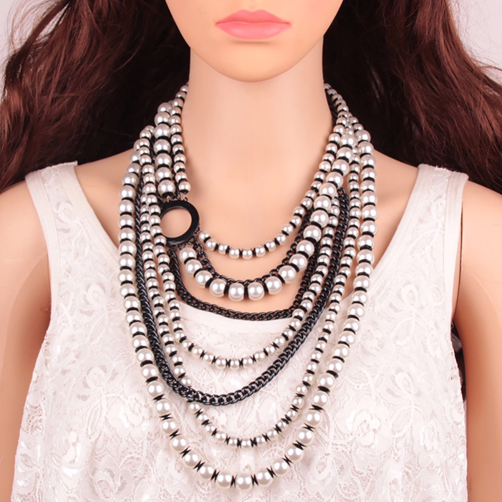 New Special Bohemian Acrylic Beads Layer Collar Chokers Pendant Long Necklace Jewelry Fashion Women Statement Necklace #262339