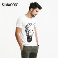 SIMWOOD 2018 T Shirt Mannen Originaliteit Ontwerp gloeilamp milieubescherming Tops 100% Pure Katoen O hals Slim Fit TD017016