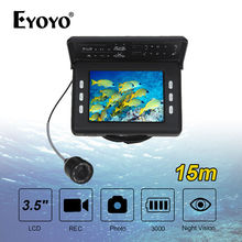 """EYOYO F7 8 SZTUK Podczerwieni LED 3.5 """"640*272 LCD 15 m Wodoodporna Fish Finder Wędkowanie Kamery Wideo Rejestrator DVR Z 3000 mAh Baterii"""