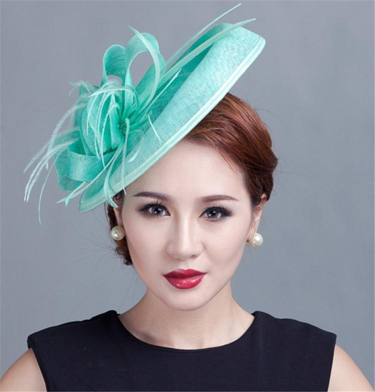 188fbbb762d Sinamay Hat Fascinator Feather Flower Hair Clip Wedding Hats And ...
