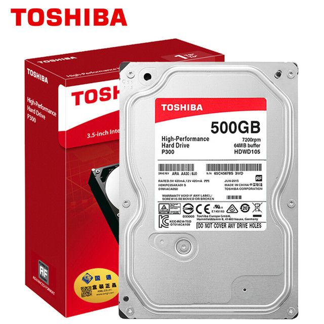 "TOSHIBA 500G Internal HDD Hard Drive Disk 500GB HD 7200RPM 64M 3.5"" SATA 3 for Desktop PC Computer"