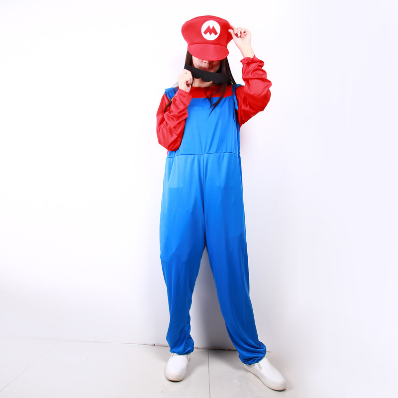 Mario Luigi Mario Brothers Cosplay Costume Full Set Party Show Costume Hat beard Rompers Jumpsuit