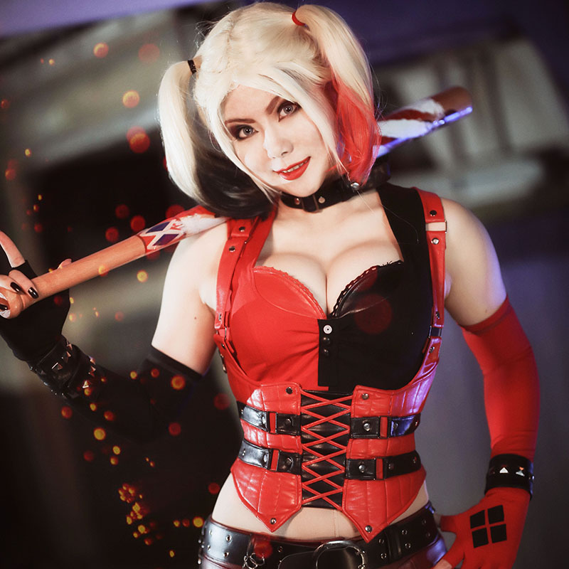 Cute Jester Girl Wallpaper Harley Quinn Cosplay Costume Batman Arkham Knight Outfit