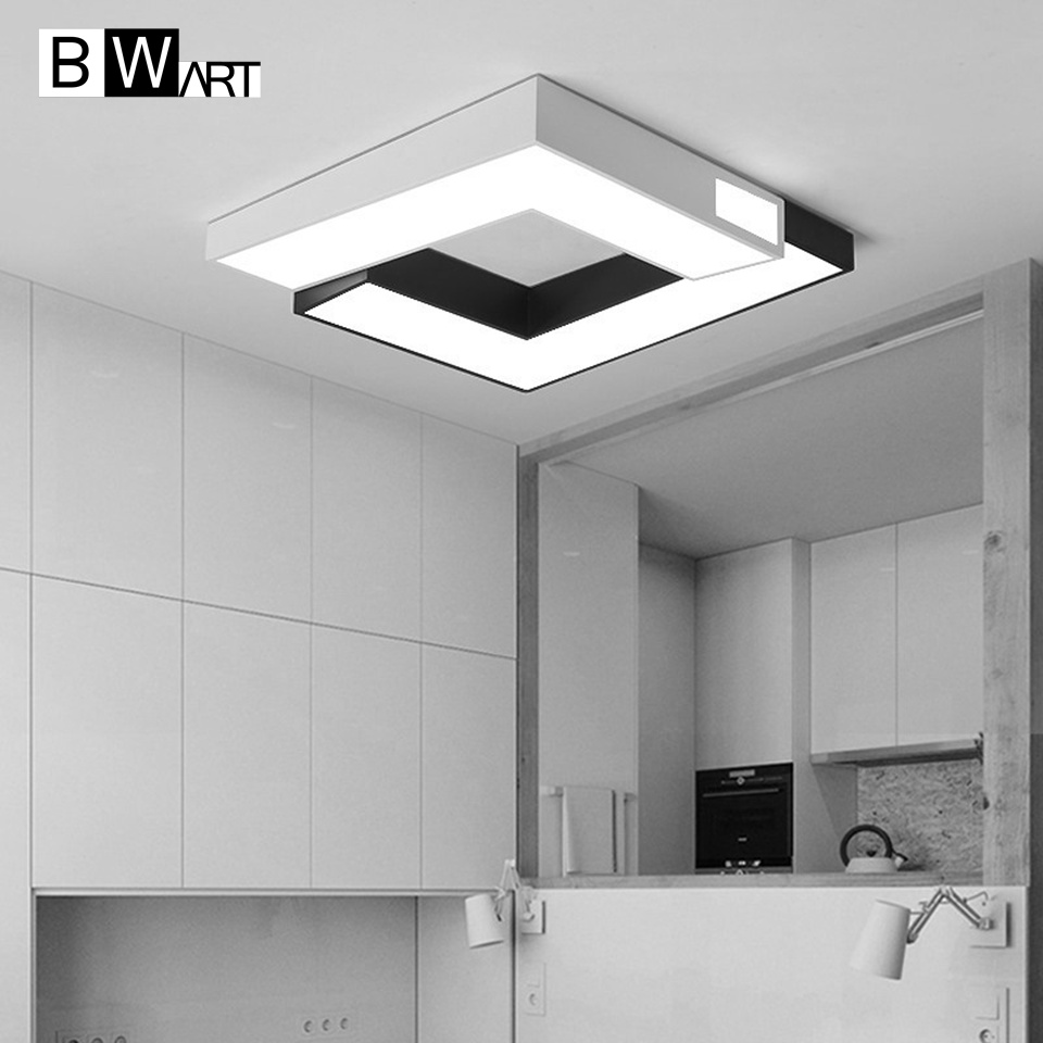 BWART Iron LED Modern Ceiling Lights fixtures For Bedroom Dining Room luminaire black white Ceiling Lamp lamparas de techo