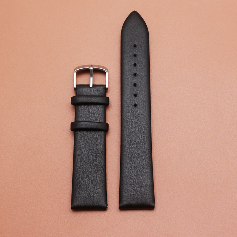 Promotion New Genuine Leather Calfskin genuine Watchband bracelets strap For quartz watches 18mm 20mm 22mm black straps