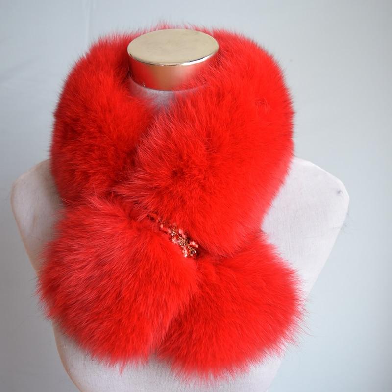 Winter Rushed Limited Women Vuxen Solid Ring 70cm Long Real Fox Fur - Kläder tillbehör - Foto 3