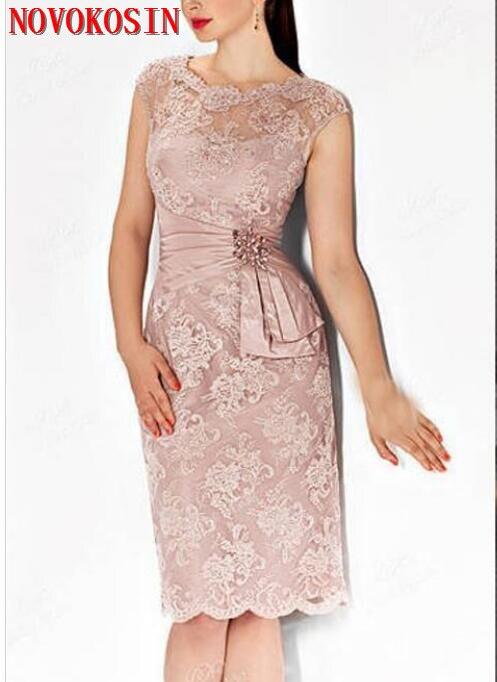 2019 Sexy gaine mère robe genou longueur dentelle Appliques perlée robe de soirée mère de la mariée robes pour mariage