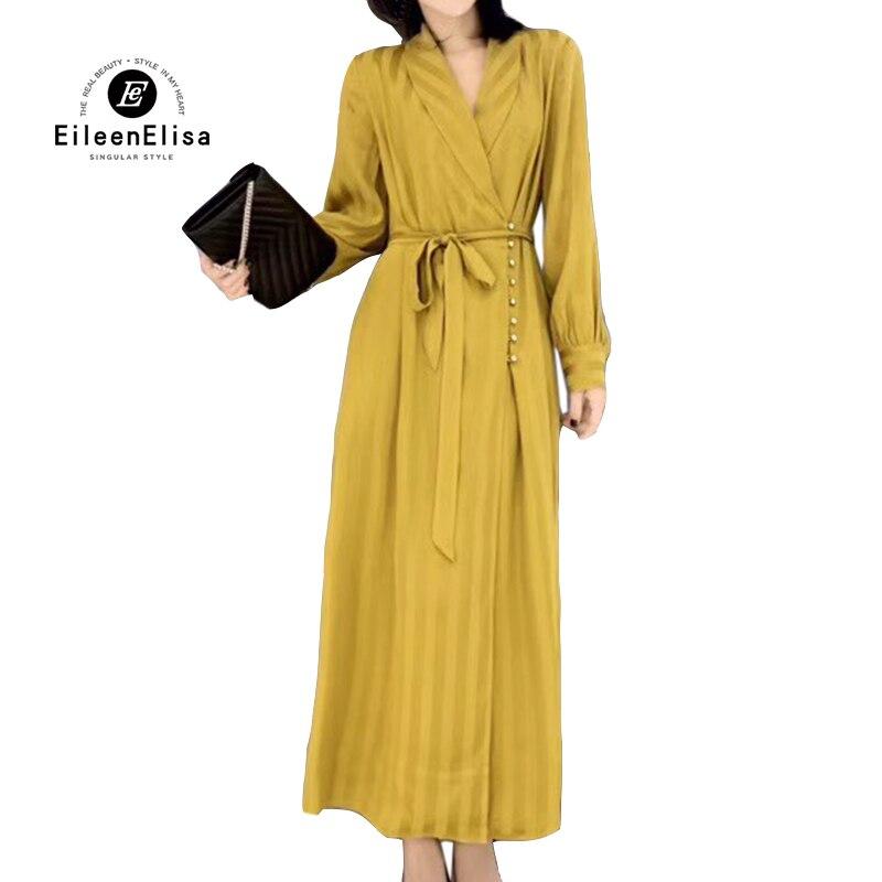 Printemps Longues Élégant Femmes Robes Robe Manches Longue cou Femme V 2019 EaqIn