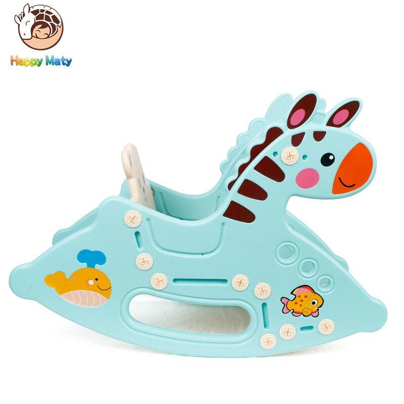 Mignon Animaux En Plastique chaise à bascule À Bascule Musical Poney voitures pour enfants Rouleaux jouets éducatifs cadeaux pour 1 2 Bébé Infantile Enfants