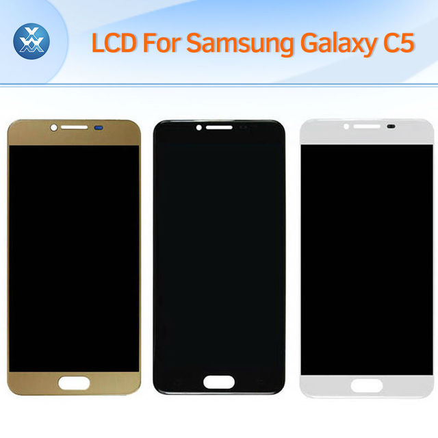 Nova tela lcd original para samsung galaxy c5 c5000 lcd touch screen painel de digitador de vidro completa assembleia preto ouro branco