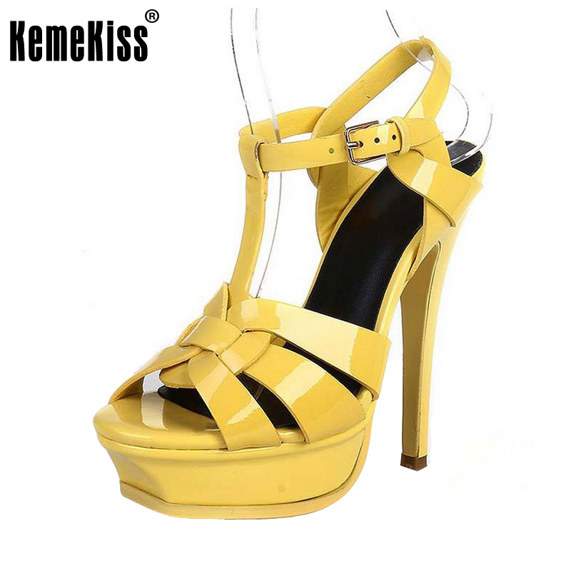 free shipping quality genuine leather high heel sandals women sexy footwear fashion lady shoes R4425 hot sale 33-40