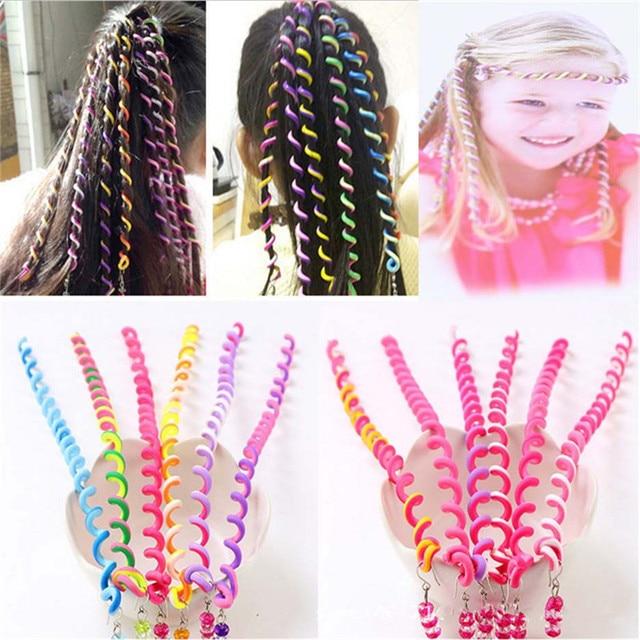 6pcs/lot Rainbow Color Cute Girl Curler Hair Braid hair styling tools hair roller Braid Maintenance The princess hair accessory 1