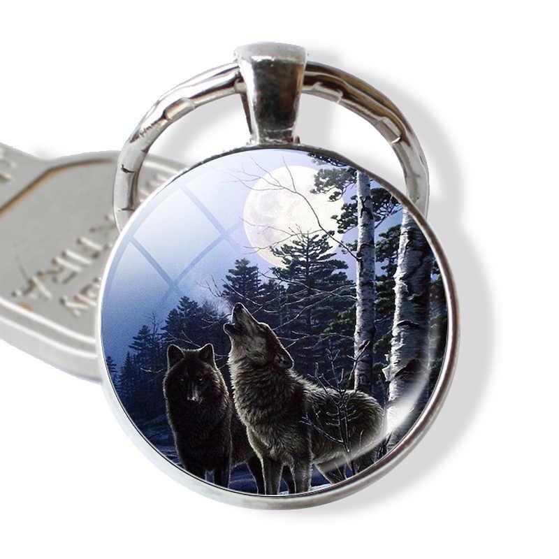Lobo y Luna colgante, llavero Lobo agresivos Vintage hombres joyería cabujón de cristal llavero soporte regalos