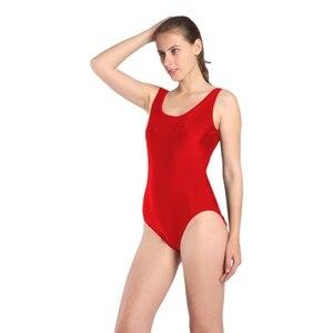 Image 4 - 女性黒赤緑青タンクレオタードラウンド襟バレエダンスウェアライクラスパンデックスレオタードスーツ体操衣装ユニタード